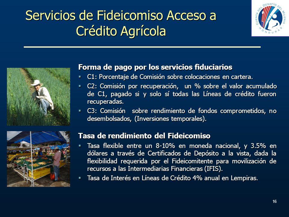 Servicios de Fideicomiso Acceso a Crédito Agrícola Forma de pago por los servicios fiduciarios C1: Porcentaje de Comisión sobre colocaciones en carter