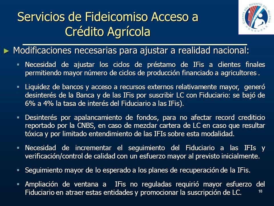 Servicios de Fideicomiso Acceso a Crédito Agrícola 18 Modificaciones necesarias para ajustar a realidad nacional: Modificaciones necesarias para ajust