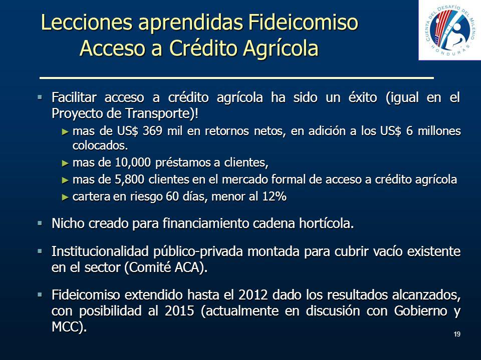 Lecciones aprendidas Fideicomiso Acceso a Crédito Agrícola Facilitar acceso a crédito agrícola ha sido un éxito (igual en el Proyecto de Transporte)!