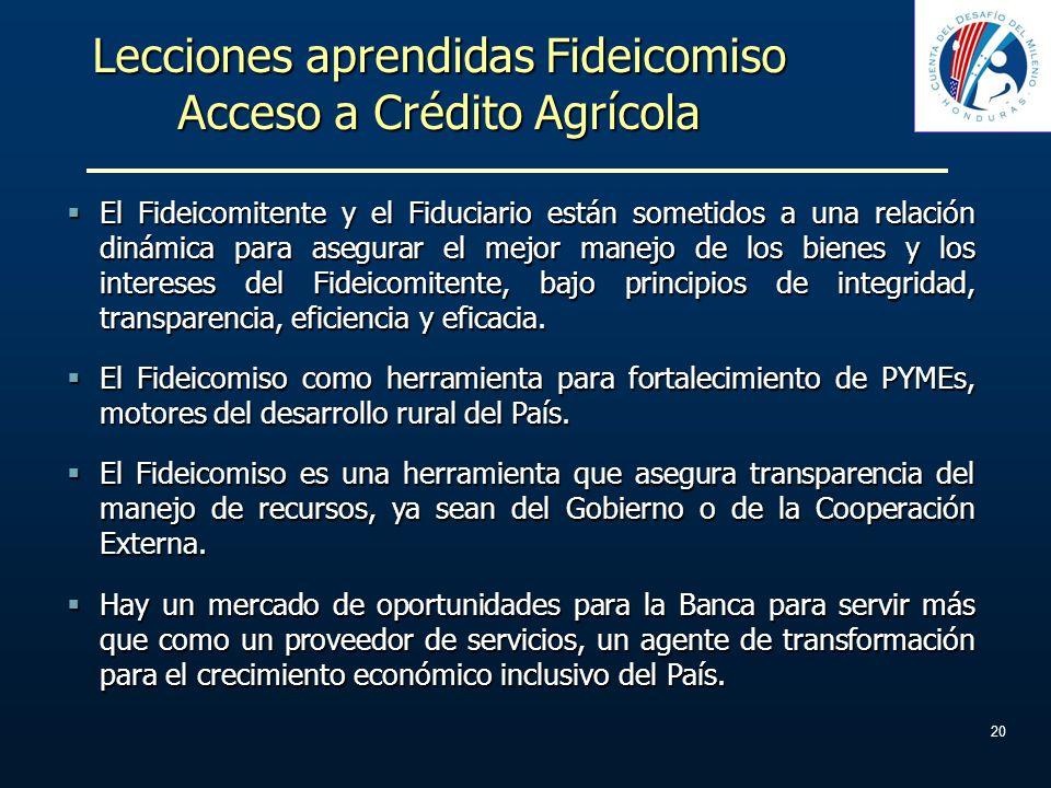 Lecciones aprendidas Fideicomiso Acceso a Crédito Agrícola El Fideicomitente y el Fiduciario están sometidos a una relación dinámica para asegurar el