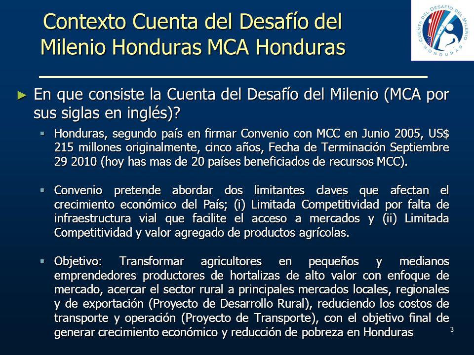 Contexto Cuenta del Desafío del Milenio Honduras MCA Honduras En que consiste la Cuenta del Desafío del Milenio (MCA por sus siglas en inglés)? En que