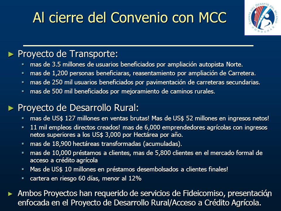 Al cierre del Convenio con MCC Proyecto de Transporte: Proyecto de Transporte: mas de 3.5 millones de usuarios beneficiados por ampliación autopista N