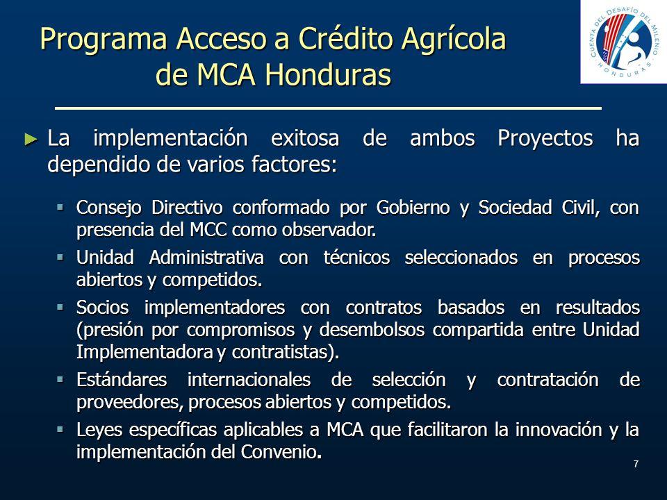 7 Programa Acceso a Crédito Agrícola de MCA Honduras La implementación exitosa de ambos Proyectos ha dependido de varios factores: La implementación e