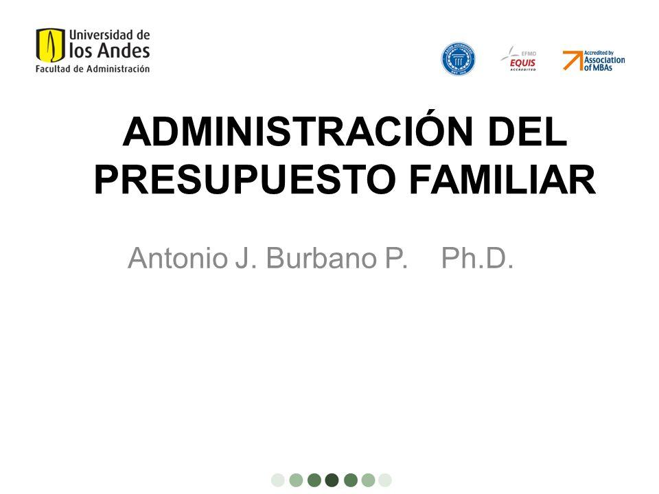 ADMINISTRACIÓN DEL PRESUPUESTO FAMILIAR Antonio J. Burbano P. Ph.D.