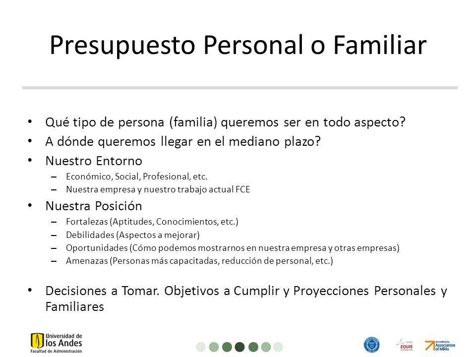 Presupuesto Personal o Familiar Qué tipo de persona (familia) queremos ser en todo aspecto.