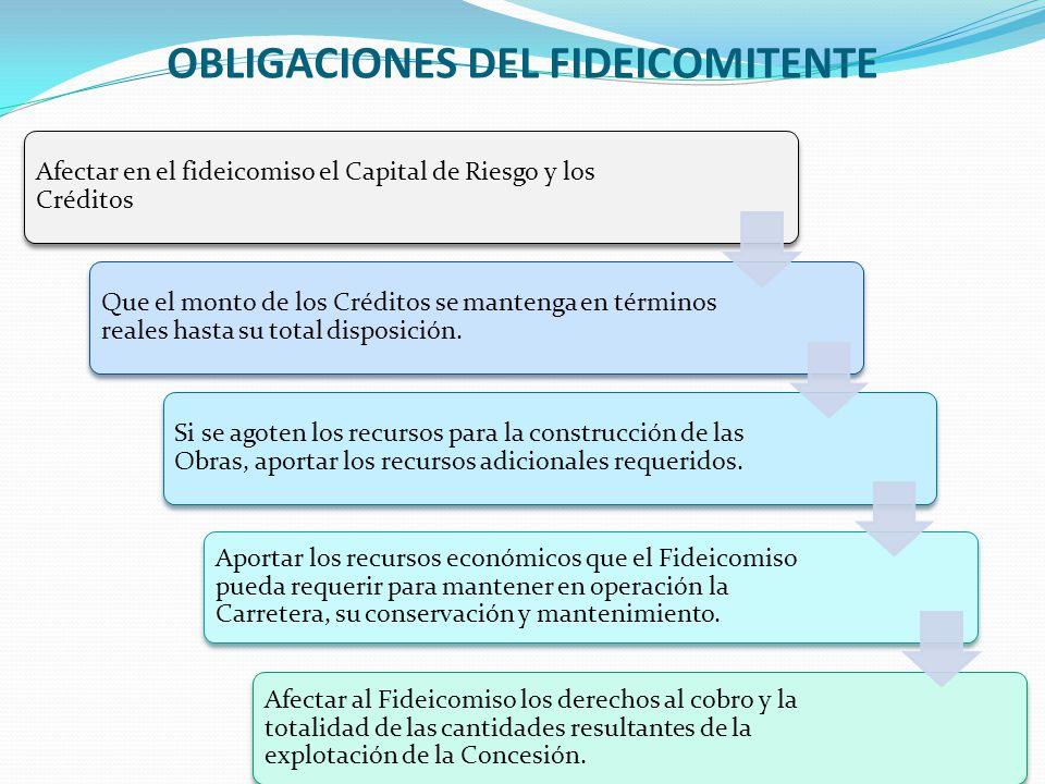 OBLIGACIONES DEL FIDEICOMITENTE 14 Afectar en el fideicomiso el Capital de Riesgo y los Créditos Que el monto de los Créditos se mantenga en términos