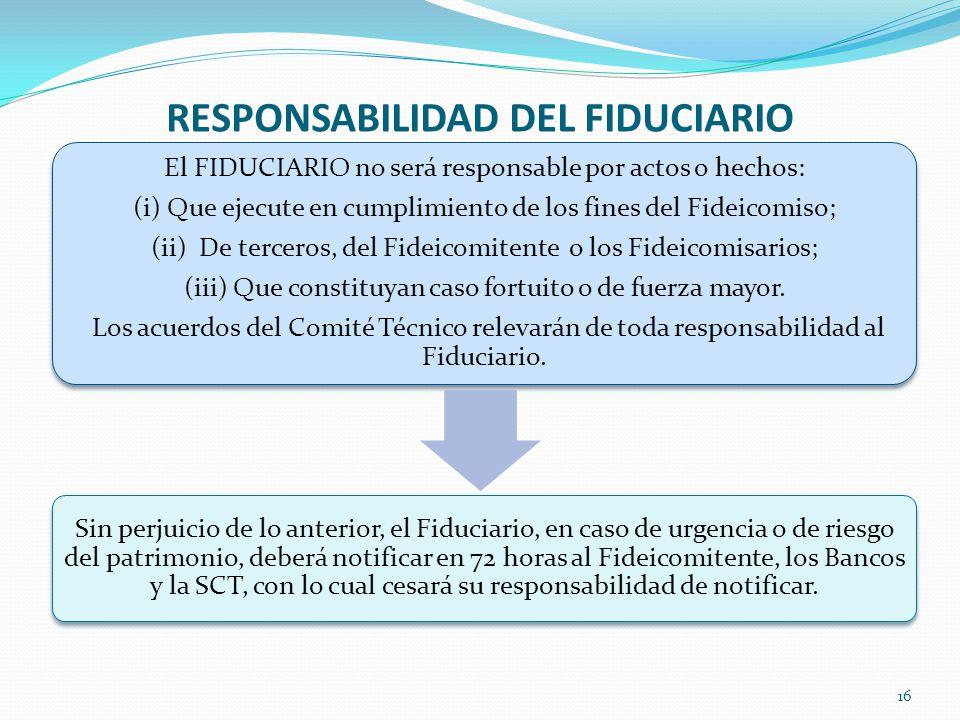 RESPONSABILIDAD DEL FIDUCIARIO 16 El FIDUCIARIO no será responsable por actos o hechos: (i) Que ejecute en cumplimiento de los fines del Fideicomiso;