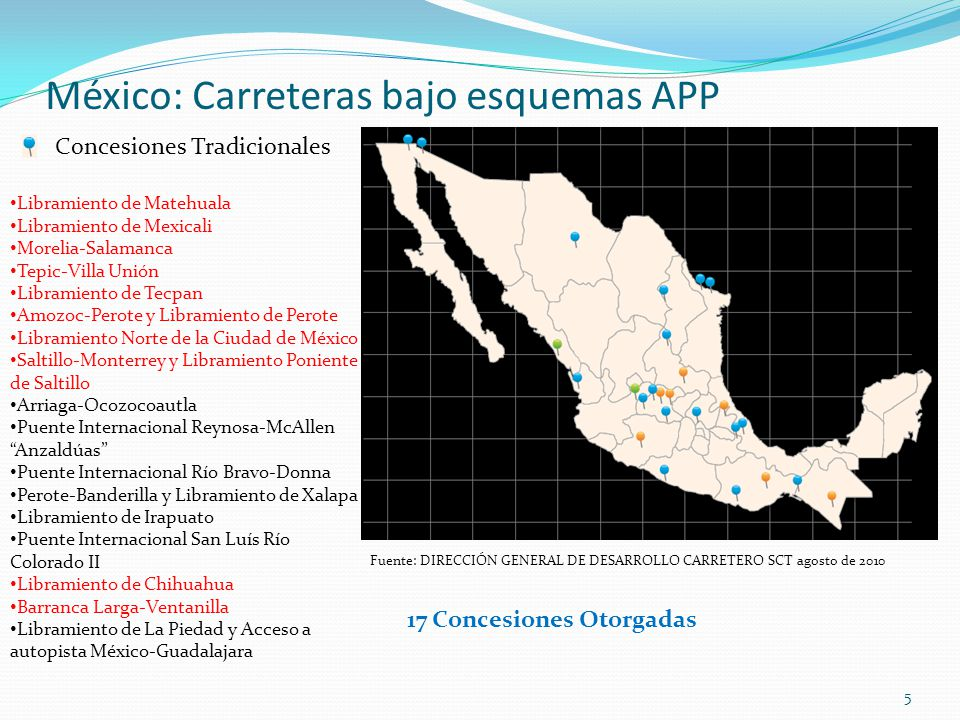 6 México: Carreteras bajo esquemas APP Irapuato-La Piedad Querétaro-Irapuato Tapachula-Talismán con Ramal a Ciudad Hidalgo Nuevo Necaxa-Tihuatlán Río Verde-Ciudad Valles Nueva Italia-Apatzingán Mitla-Entronque Tehuantepec Pacífico Norte (un activo y 2 proyectos a desarrollar) Centro-Occidente (4 activos y 4 proyectos a desarrollar) Centro (4 activos y 4 proyectos a desarrollar) En proceso de preparación Aprovechamiento de Activos PPS (Prestación de Servicios) Son 26 proyectos con una inversión del orden de 5,600 mdd y 2,700 kilómetros