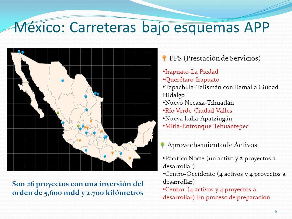 6 México: Carreteras bajo esquemas APP Irapuato-La Piedad Querétaro-Irapuato Tapachula-Talismán con Ramal a Ciudad Hidalgo Nuevo Necaxa-Tihuatlán Río