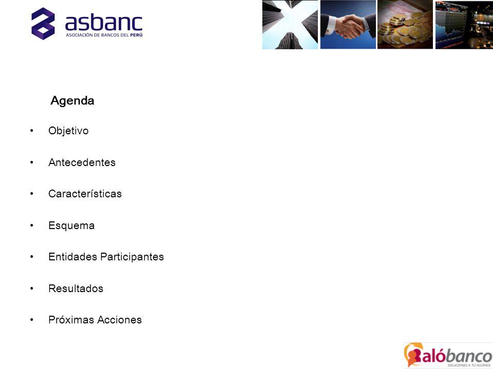 Agenda Objetivo Antecedentes Características Esquema Entidades Participantes Resultados Próximas Acciones