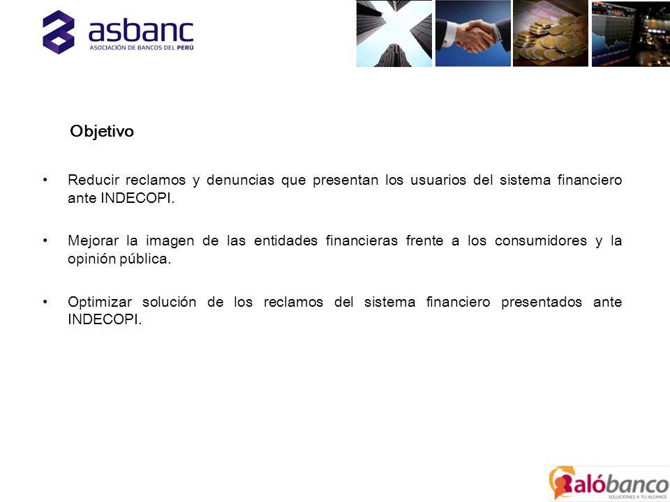 Objetivo Reducir reclamos y denuncias que presentan los usuarios del sistema financiero ante INDECOPI.