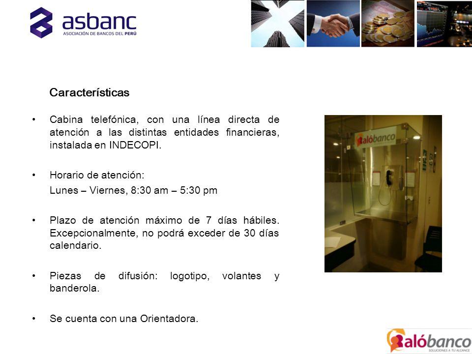 Cabina telefónica, con una línea directa de atención a las distintas entidades financieras, instalada en INDECOPI.
