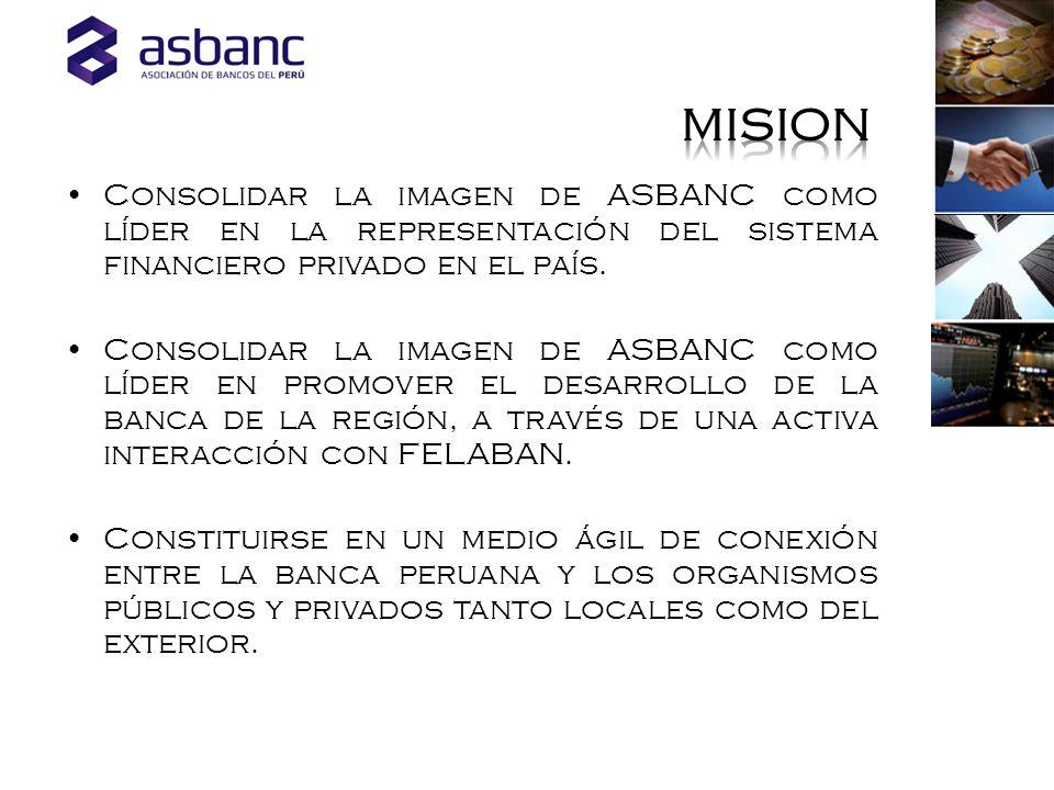 Consolidar la imagen de ASBANC como líder en la representación del sistema financiero privado en el país.