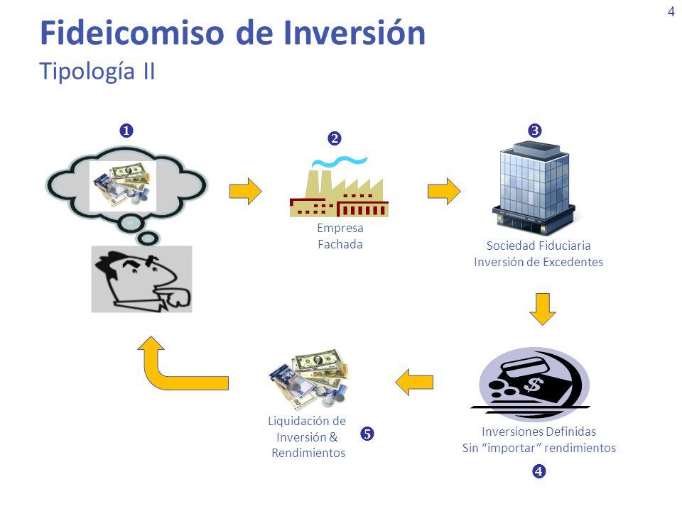 4 Fideicomiso de Inversión Tipología II Empresa Fachada Sociedad Fiduciaria Inversión de Excedentes Inversiones Definidas Sin importar rendimientos Li