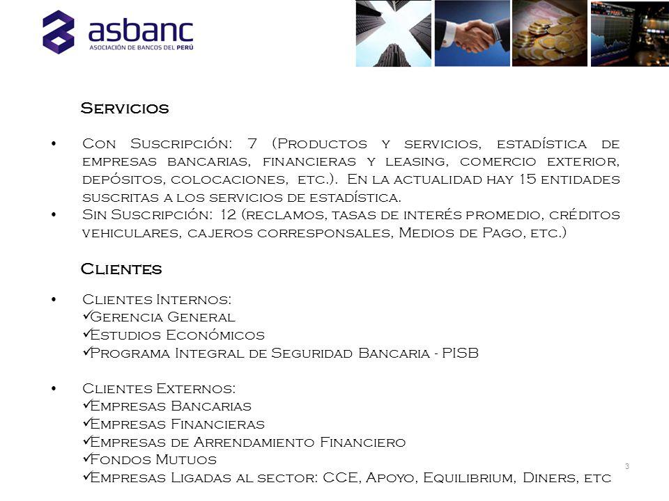 Con Suscripción: 7 (Productos y servicios, estadística de empresas bancarias, financieras y leasing, comercio exterior, depósitos, colocaciones, etc.)