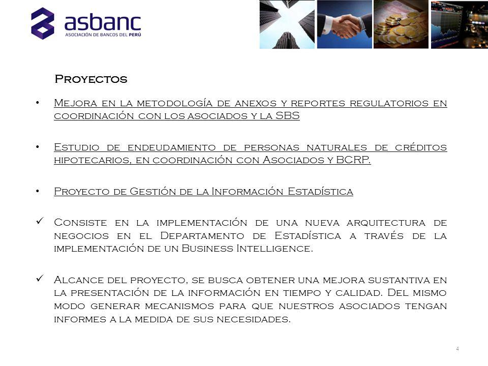 4 Proyectos Mejora en la metodología de anexos y reportes regulatorios en coordinación con los asociados y la SBS Estudio de endeudamiento de personas