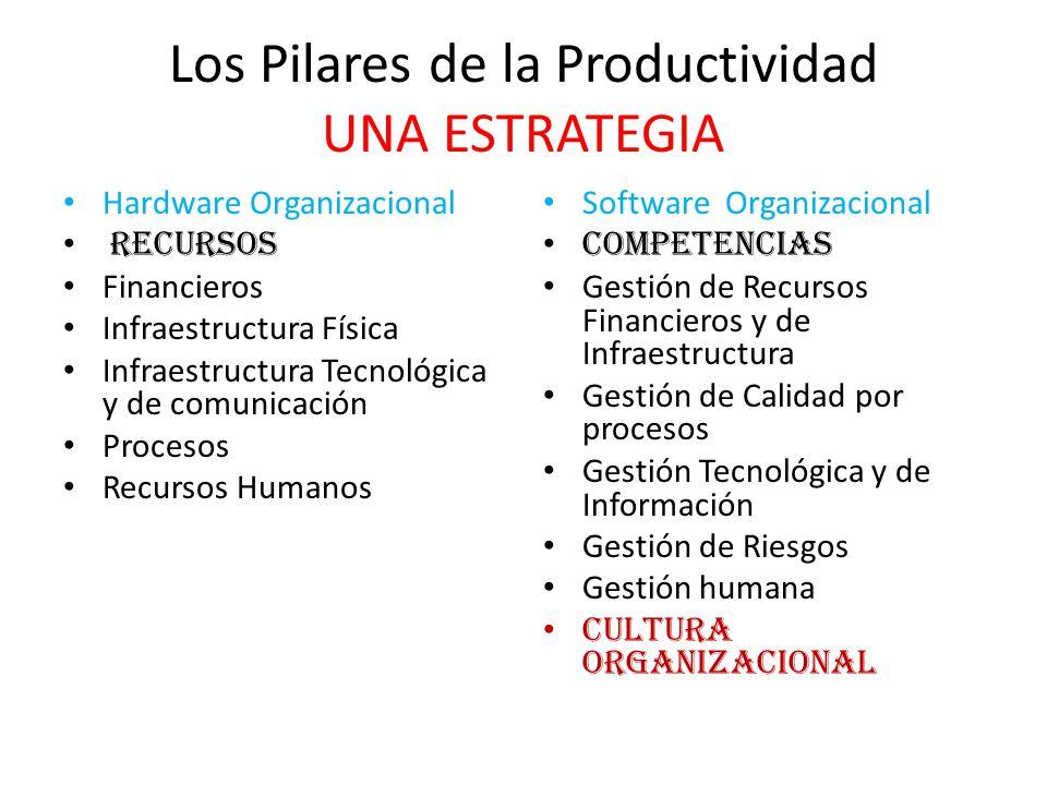 Los Pilares de la Productividad UNA ESTRATEGIA Hardware Organizacional Recursos Financieros Infraestructura Física Infraestructura Tecnológica y de co