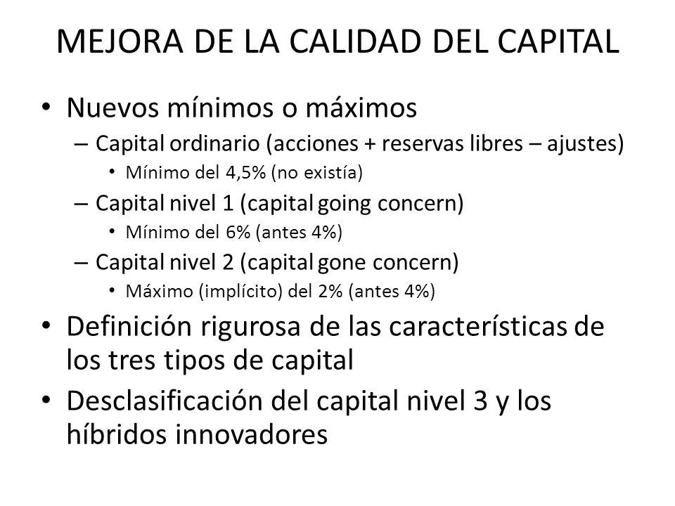MEJORA DE LA CALIDAD DEL CAPITAL Nuevos mínimos o máximos – Capital ordinario (acciones + reservas libres – ajustes) Mínimo del 4,5% (no existía) – Ca