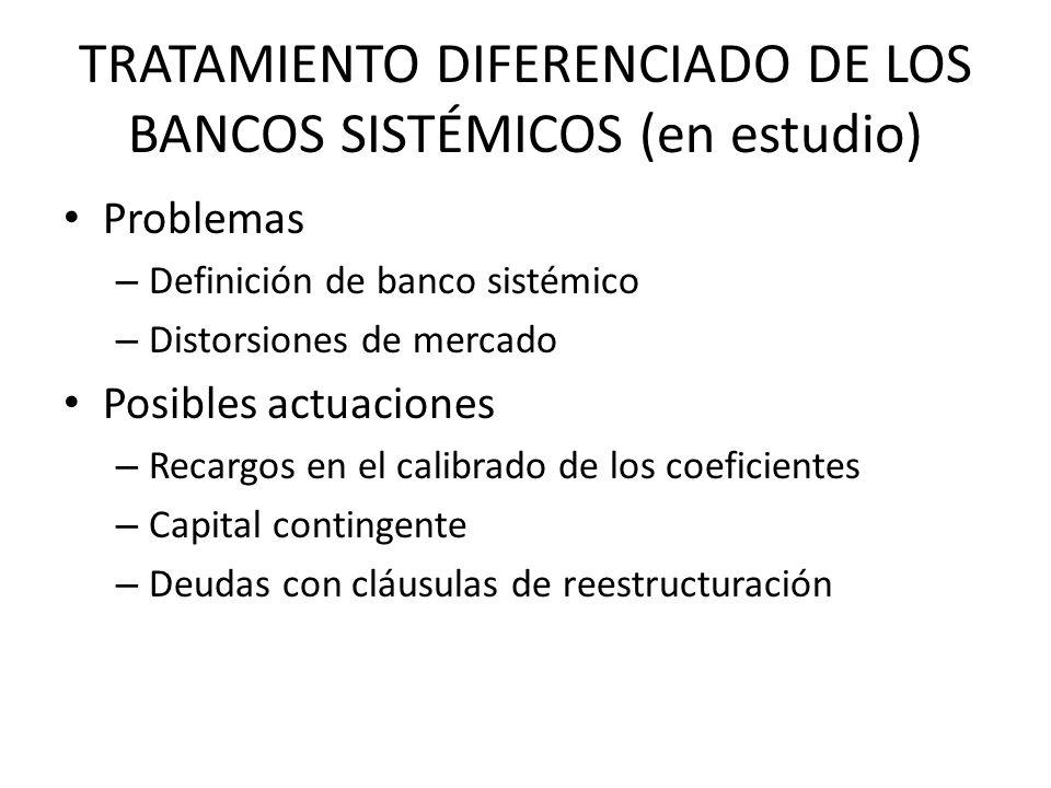 TRATAMIENTO DIFERENCIADO DE LOS BANCOS SISTÉMICOS (en estudio) Problemas – Definición de banco sistémico – Distorsiones de mercado Posibles actuacione