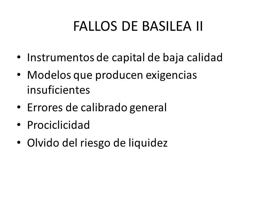 FALLOS DE BASILEA II Instrumentos de capital de baja calidad Modelos que producen exigencias insuficientes Errores de calibrado general Prociclicidad