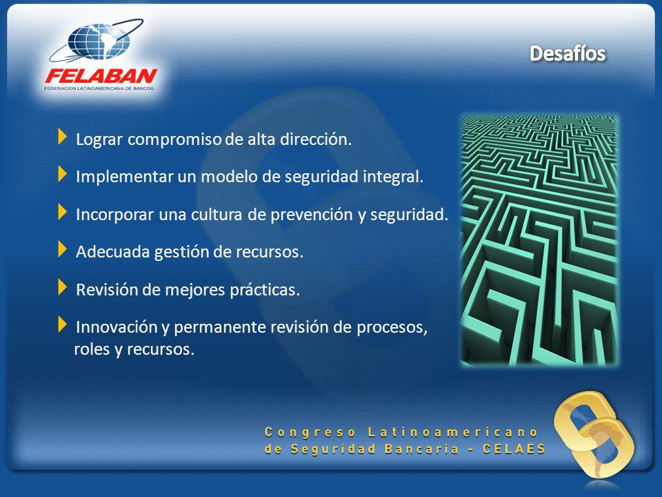 Lograr compromiso de alta dirección.Implementar un modelo de seguridad integral.