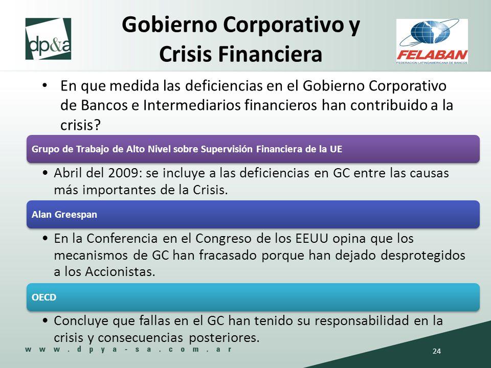 En que medida las deficiencias en el Gobierno Corporativo de Bancos e Intermediarios financieros han contribuido a la crisis? Gobierno Corporativo y C