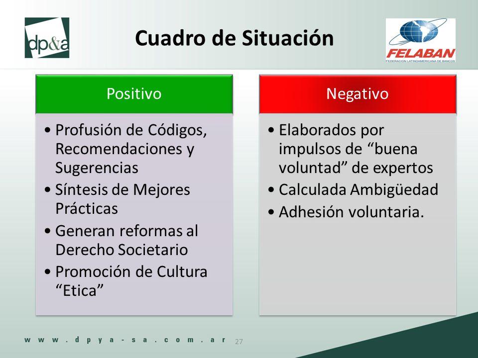 Positivo Profusión de Códigos, Recomendaciones y Sugerencias Síntesis de Mejores Prácticas Generan reformas al Derecho Societario Promoción de Cultura