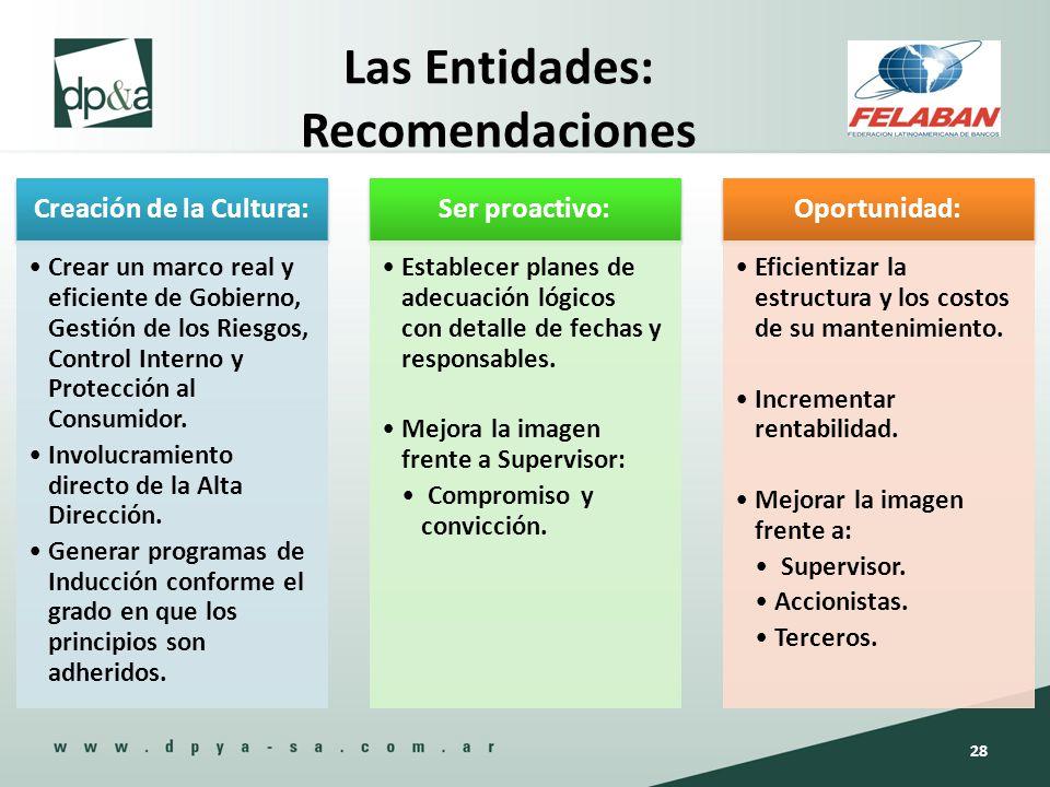 Las Entidades: Recomendaciones Creación de la Cultura: Crear un marco real y eficiente de Gobierno, Gestión de los Riesgos, Control Interno y Protecci