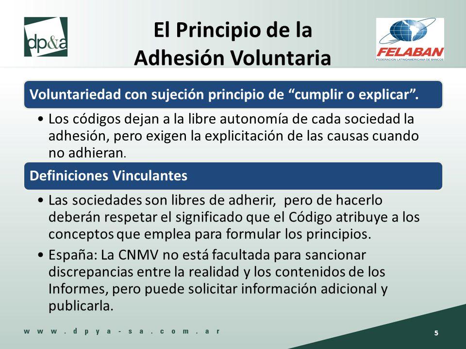 El Principio de la Adhesión Voluntaria Voluntariedad con sujeción principio de cumplir o explicar. Los códigos dejan a la libre autonomía de cada soci