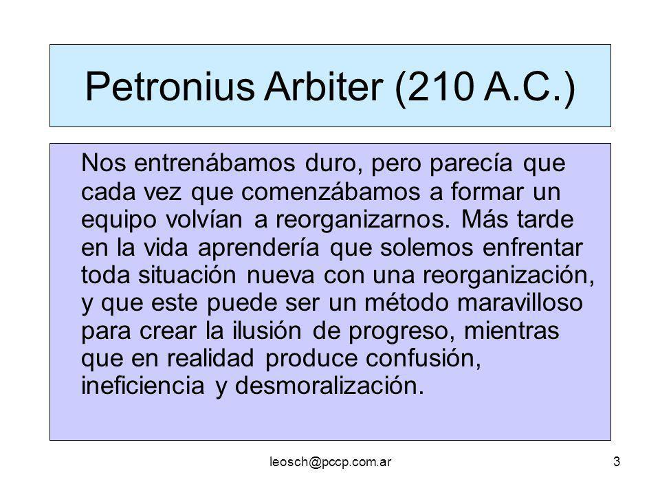 leosch@pccp.com.ar3 Petronius Arbiter (210 A.C.) Nos entrenábamos duro, pero parecía que cada vez que comenzábamos a formar un equipo volvían a reorga
