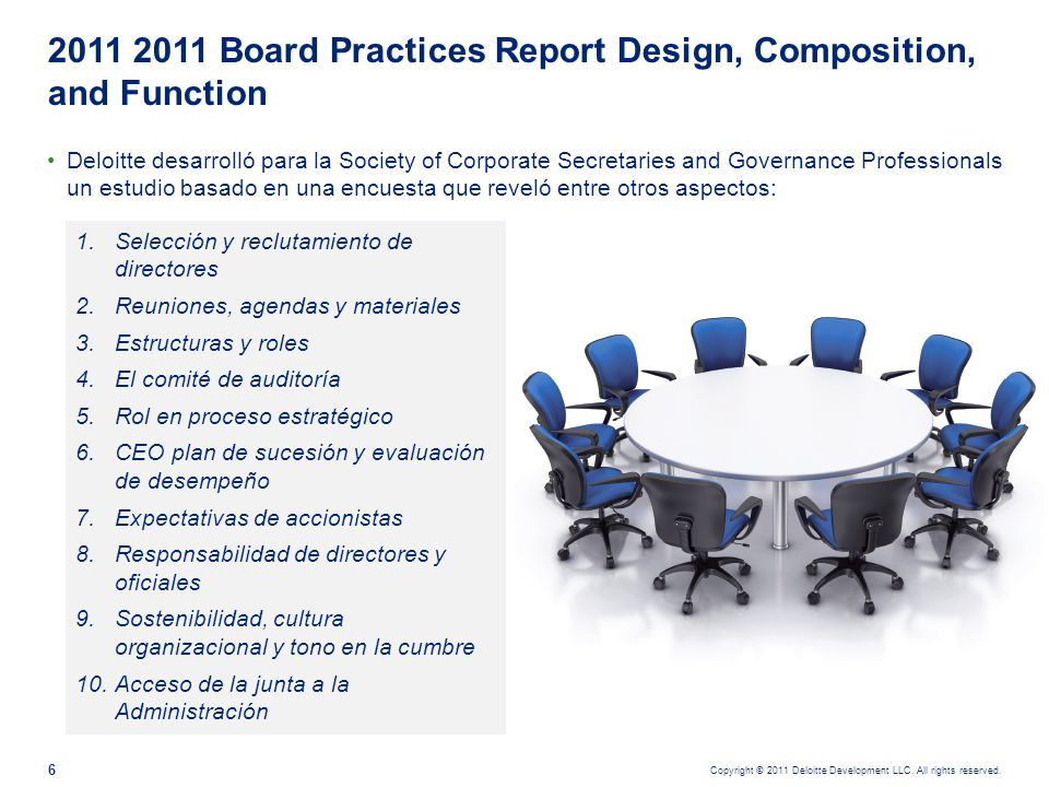 Copyright © 2011 Deloitte Development LLC. All rights reserved. 6 Deloitte desarrolló para la Society of Corporate Secretaries and Governance Professi