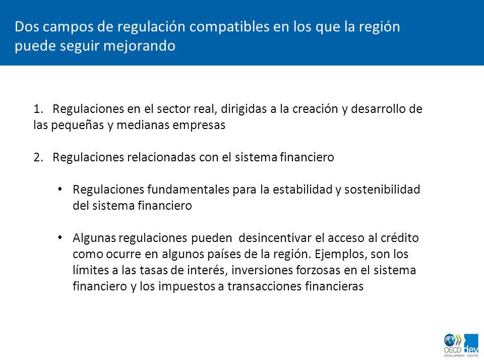 Dos campos de regulación compatibles en los que la región puede seguir mejorando 1. Regulaciones en el sector real, dirigidas a la creación y desarrol