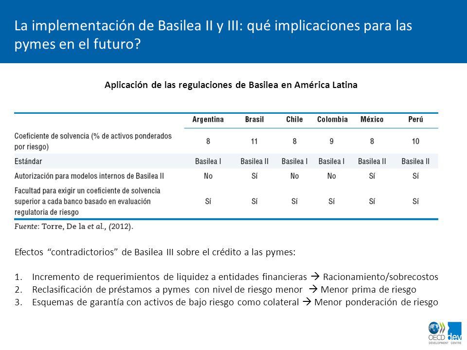 La implementación de Basilea II y III: qué implicaciones para las pymes en el futuro? Aplicación de las regulaciones de Basilea en América Latina Efec