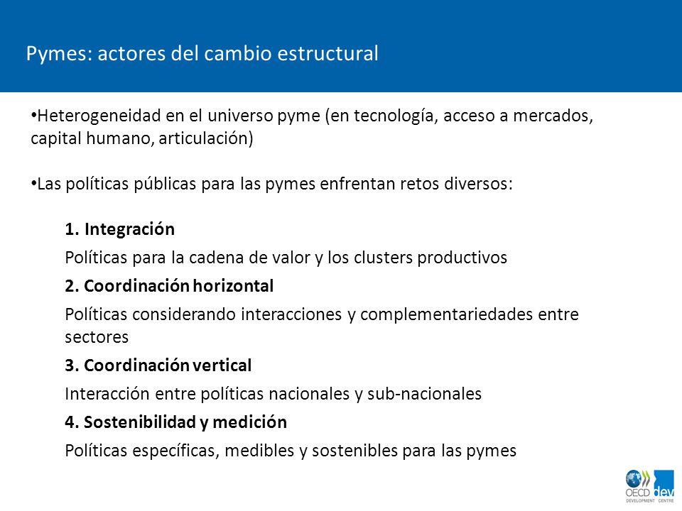 Pymes: actores del cambio estructural Heterogeneidad en el universo pyme (en tecnología, acceso a mercados, capital humano, articulación) Las política