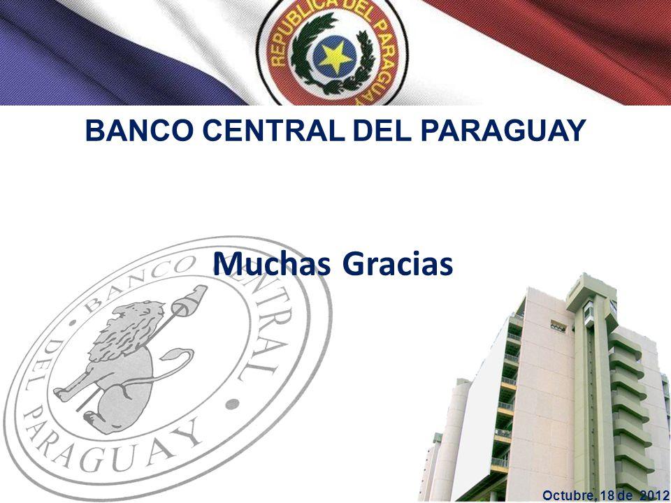 BANCO CENTRAL DEL PARAGUAY Muchas Gracias Octubre, 18 de 2012