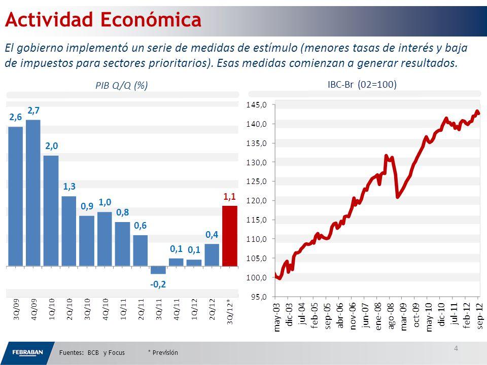 PIB Q/Q (%) IBC-Br (02=100) Fuentes: BCB y Focus * Previsión 4 El gobierno implementó un serie de medidas de estímulo (menores tasas de interés y baja de impuestos para sectores prioritarios).