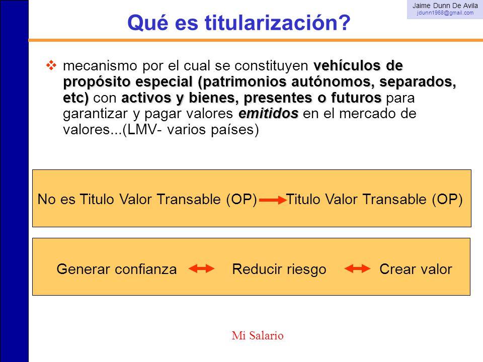 Qué es titularización? vehículos de propósito especial (patrimonios autónomos, separados, etc)activos y bienes, presentes o futuros emitidos mecanismo