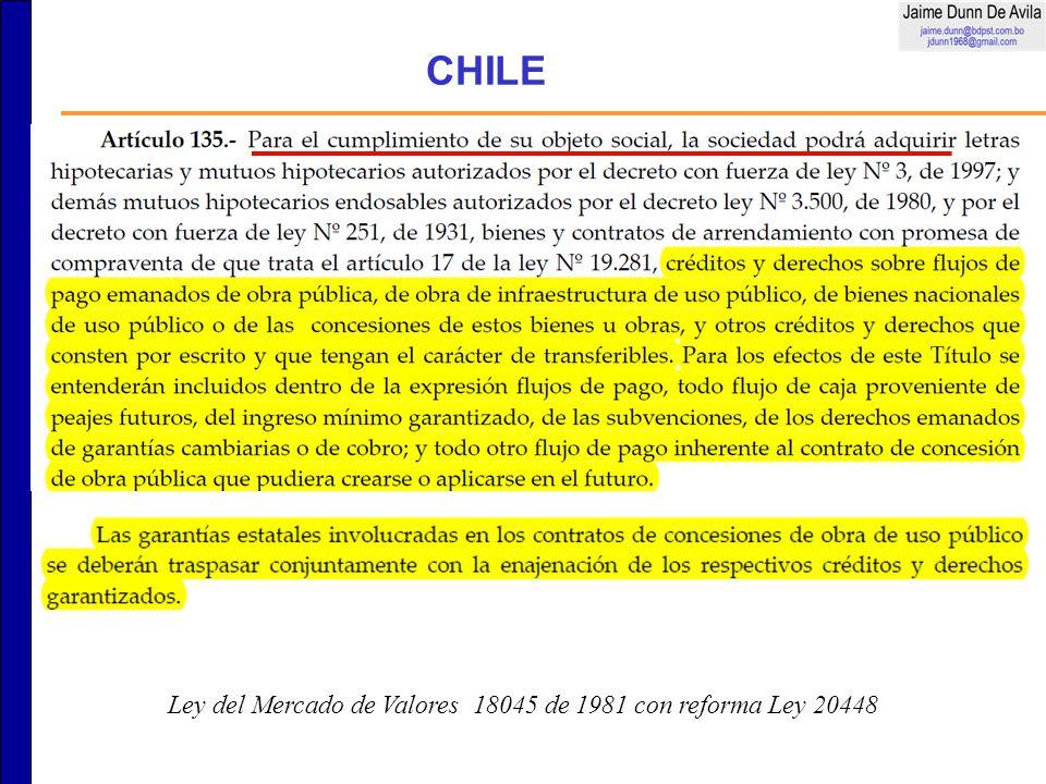 CHILE Ley del Mercado de Valores 18045 de 1981 con reforma Ley 20448