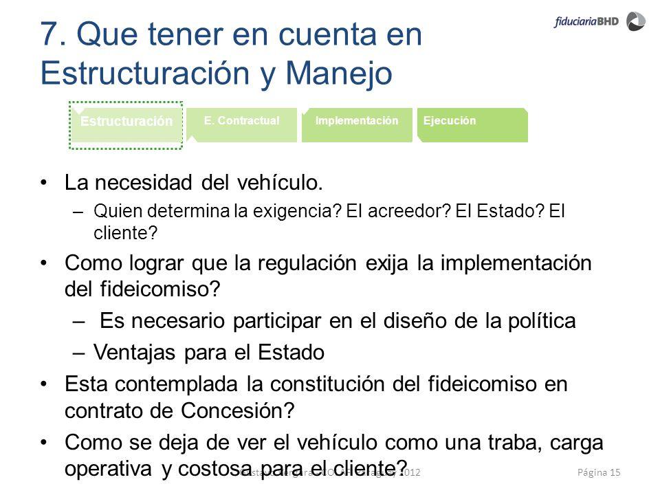 7. Que tener en cuenta en Estructuración y Manejo Página 15Gustavo Vergara - COLAFI Paraguay 2012 Estructuración E. ContractualImplementaciónEjecución