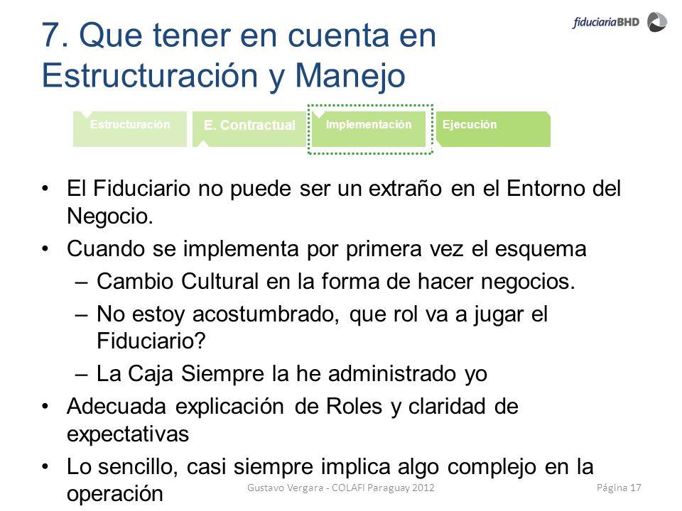 7. Que tener en cuenta en Estructuración y Manejo Página 17Gustavo Vergara - COLAFI Paraguay 2012 Estructuración E. Contractual ImplementaciónEjecució