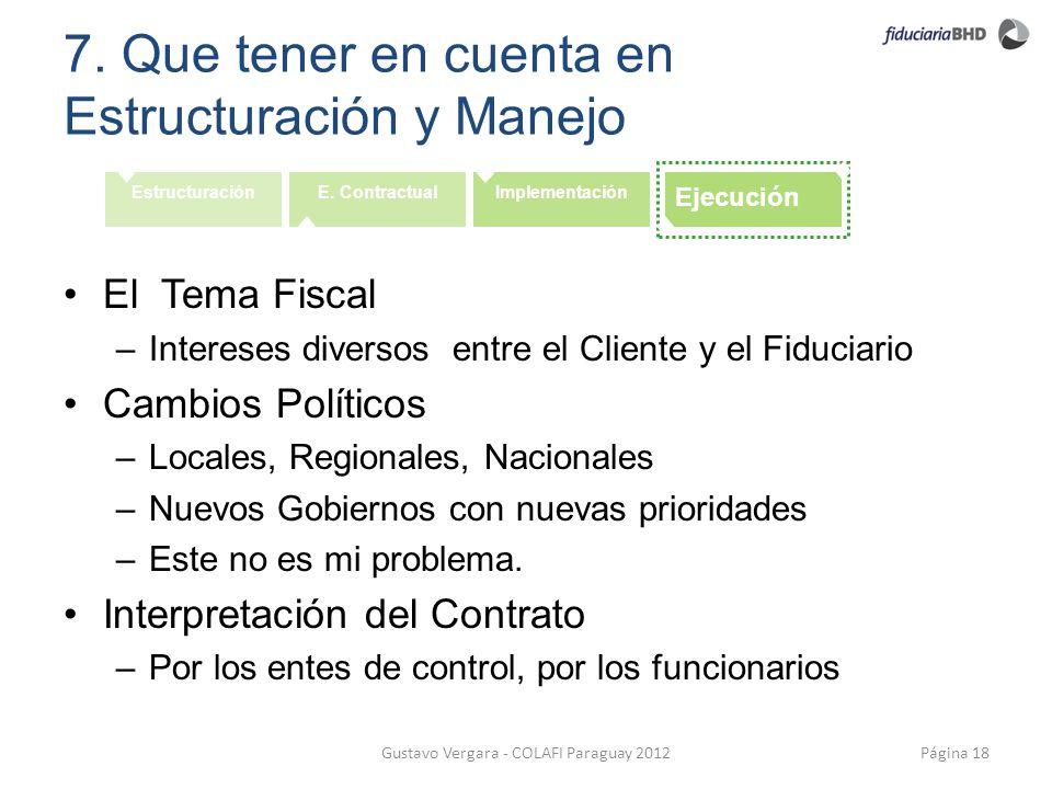 7. Que tener en cuenta en Estructuración y Manejo Página 18Gustavo Vergara - COLAFI Paraguay 2012 EstructuraciónE. ContractualImplementación Ejecución