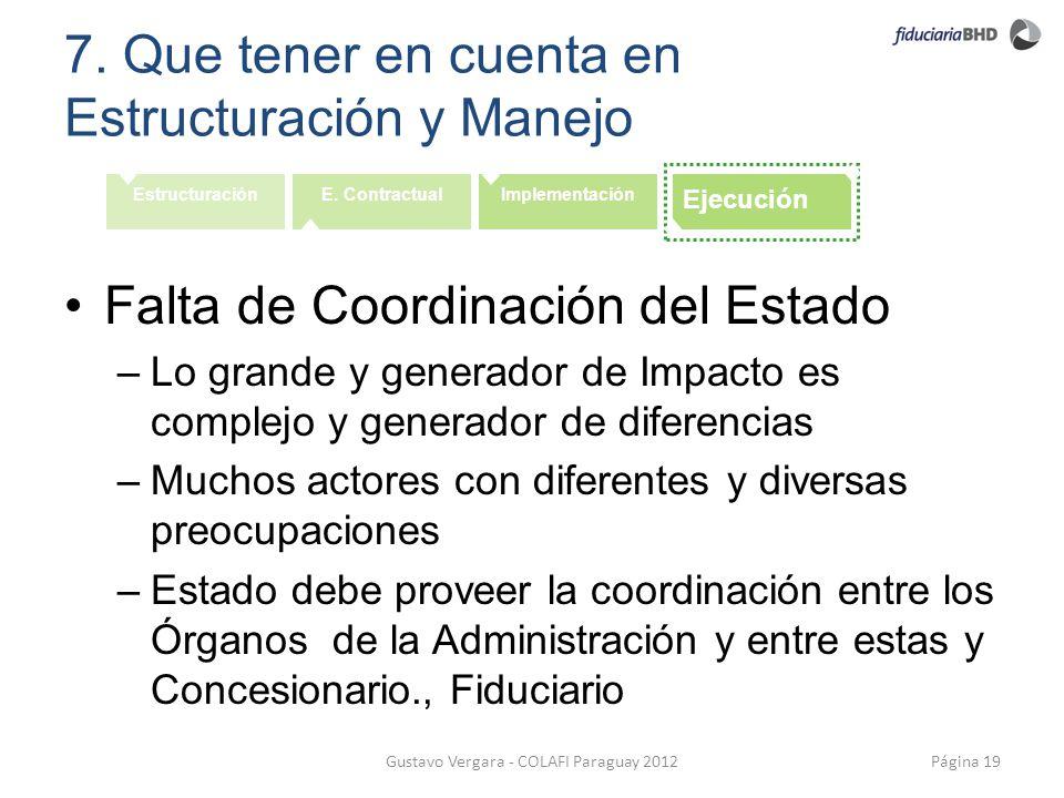 7. Que tener en cuenta en Estructuración y Manejo Página 19Gustavo Vergara - COLAFI Paraguay 2012 EstructuraciónE. ContractualImplementación Ejecución