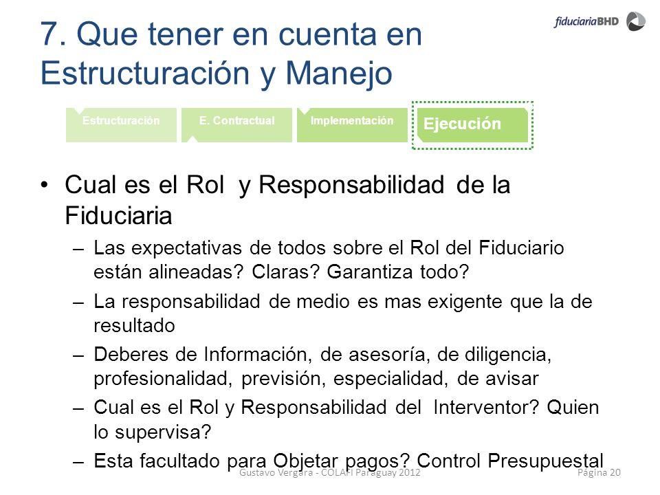 7. Que tener en cuenta en Estructuración y Manejo Página 20Gustavo Vergara - COLAFI Paraguay 2012 EstructuraciónE. ContractualImplementación Ejecución