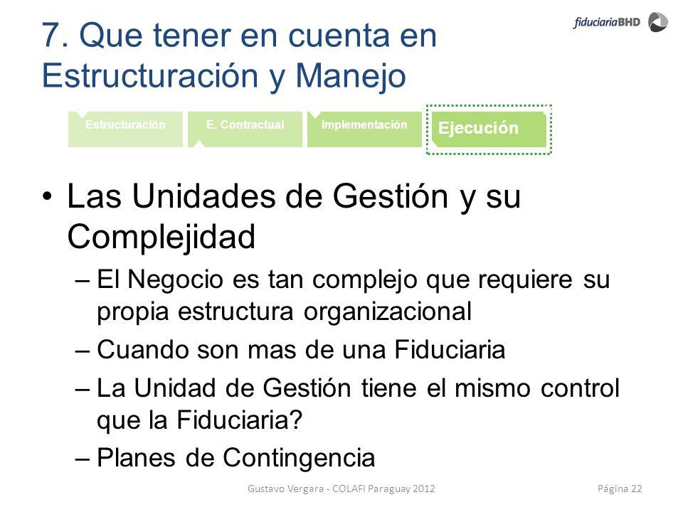 7. Que tener en cuenta en Estructuración y Manejo Página 22Gustavo Vergara - COLAFI Paraguay 2012 EstructuraciónE. ContractualImplementación Ejecución