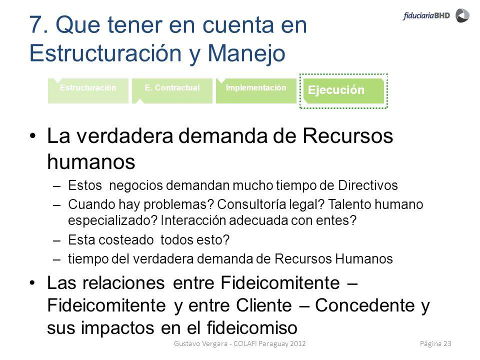 7. Que tener en cuenta en Estructuración y Manejo Página 23Gustavo Vergara - COLAFI Paraguay 2012 EstructuraciónE. ContractualImplementación Ejecución