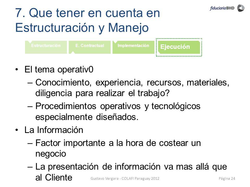 7. Que tener en cuenta en Estructuración y Manejo Página 24Gustavo Vergara - COLAFI Paraguay 2012 EstructuraciónE. ContractualImplementación Ejecución