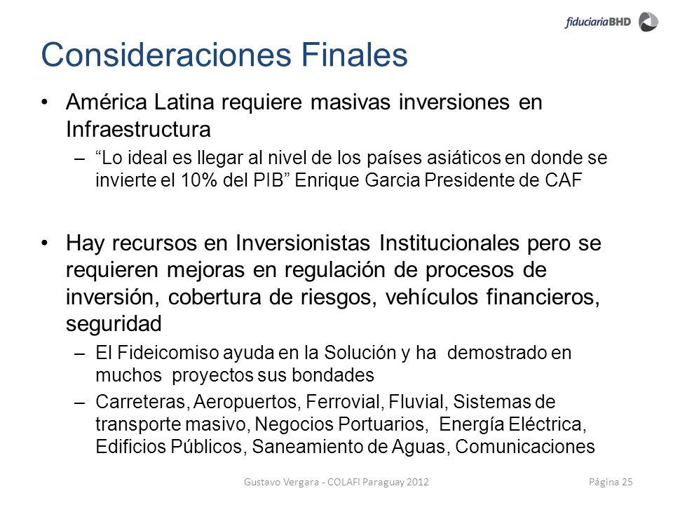 Consideraciones Finales Página 25Gustavo Vergara - COLAFI Paraguay 2012 América Latina requiere masivas inversiones en Infraestructura –Lo ideal es ll