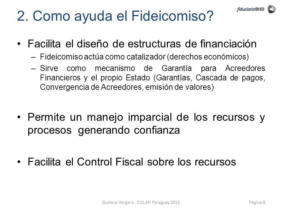 2. Como ayuda el Fideicomiso? Facilita el diseño de estructuras de financiación –Fideicomiso actúa como catalizador (derechos económicos) –Sirve como