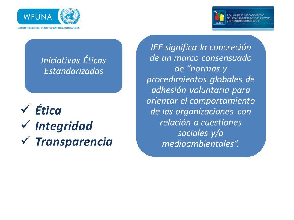 Iniciativas Éticas Estandarizadas IEE significa la concreción de un marco consensuado de normas y procedimientos globales de adhesión voluntaria para