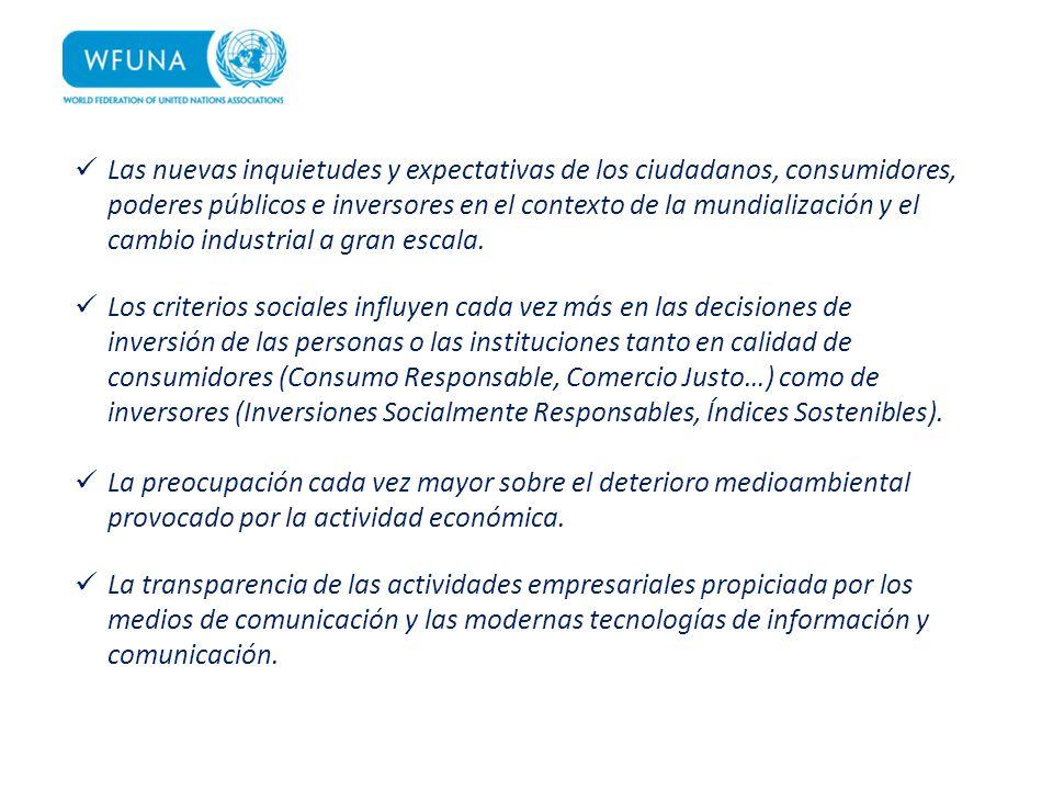 Las nuevas inquietudes y expectativas de los ciudadanos, consumidores, poderes públicos e inversores en el contexto de la mundialización y el cambio i